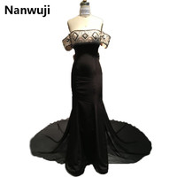Real Sample Black Long 2016 New Arrival Off The Shoulder Evening Dresses Lux Evening Gowns Robe