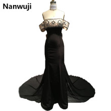 Real Sample Black Long 2016 New arrival Off the Shoulder Evening dresses  Lux  Evening Gowns robe de soiree 2016 new arrival black