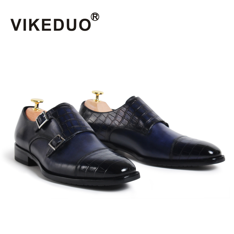 VIKEDUO Brand 2017Fashion Vintage Retro Handmade font b Mens b font Monk font b Shoes b
