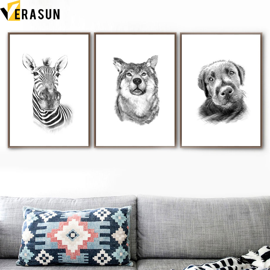 Deer Bear Wild Boar Zebra Dog Wolf Animal Wall Art Canvas Painting Nordic Posters And Prints Wall Pictures For Living Room Decor in Painting Calligraphy from Home Garden