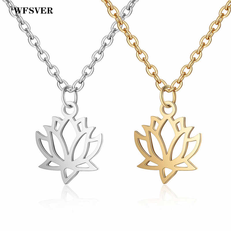 WFSVER Yoga Chakra Necklace For Women Fashion Gold/Silver Color Stainless Steel Flower Lotus Shape Pendant Necklace Jewelry Gift