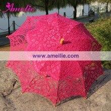 Ручной работы Винтажный кружевной свадебный для невесты Зонты ярко-розовый цвет