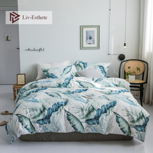 Liv-Esthete Hot Sale Fashion Banana leaf 100% Cotton Bedding Set Duvet Cover Pillowcase Flat Sheet Double Queen King Bed