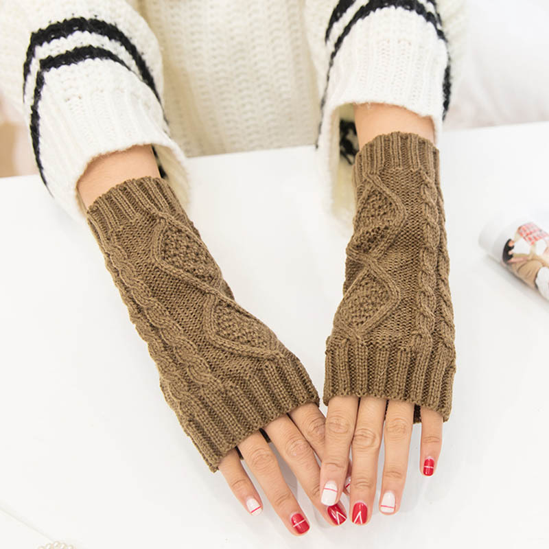 1Pair Women Winter Spring Fingerless Gloves Warmer Long Knitted Arm Gloves New