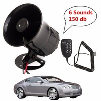 12V Loud 6 Sounds 150DB Air Horn Siren Speaker For Auto Car Boat Megaphone With MIC
