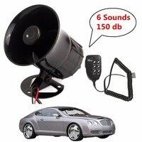 12V Loud 6 Sounds 150DB Air Horn Siren Speaker for Auto Car Boat Megaphone with MIC Loud Speaker Siren