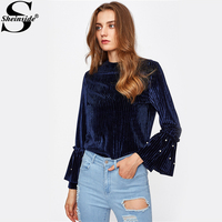 Sheinside Navy Pearl Beading Tiered Bell Cuff Ribbed Velvet Blouse 2017 Round Neck Flare Sleeve Cute