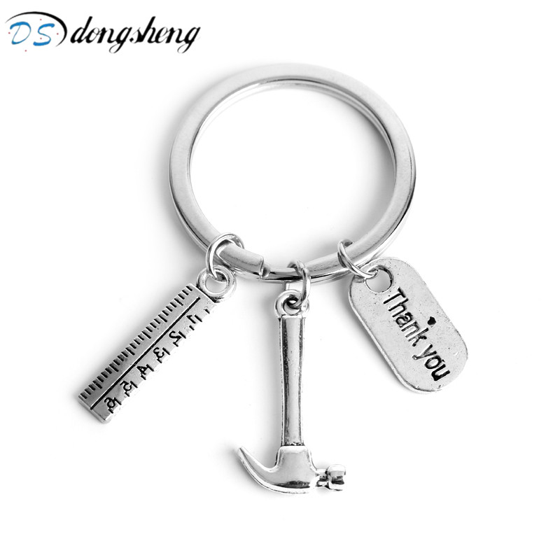 dongsheng Fathers Day Gift Metal Keychain Fashion Work Tools Tool Ruler Hammer Thank You Letter Charm Keyring for Men Women-50