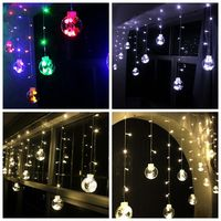 120 LED Christmas Lights Indoor Curtain Fairy String Light Wedding Decoration Window Garland Round Ball Flasher