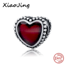 hot deal buy 925 sterling silver red enamel hearts charms beads fit original european charm bracelet beads diy jewelry making for women gifts