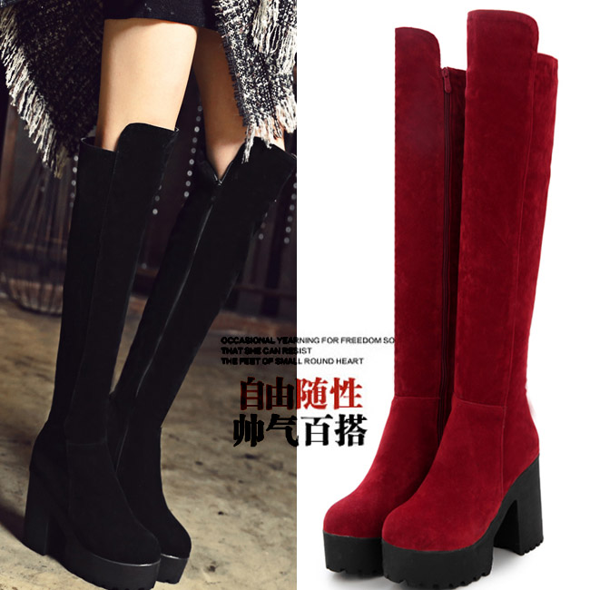 ФОТО Hot-selling splder thick heel high-heeled shoes professional customize big drum plus size shoes 40 44 knee-length boots female