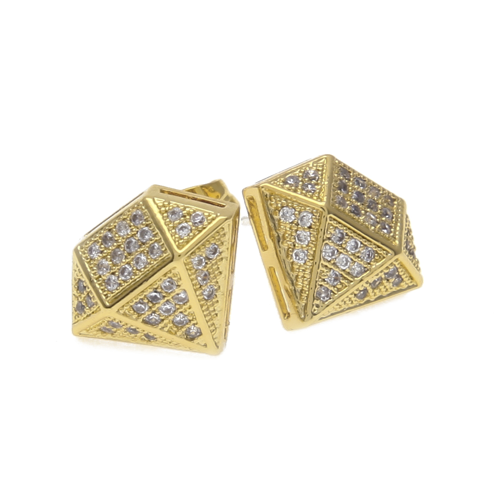 Hip Hop Full Iced Out Cz Simulated Diamonds Earring Gold Color Irregular Copper High Quality Women Accessories In Stud Earrings From Jewelry