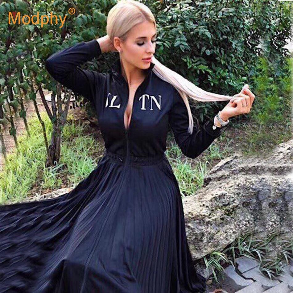 2018 Femmes de Noir Élégant Plissé Robe à manches longues col montant Avant Zipper taille haute casual Robe Party Celebrity Robes