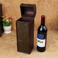 Retro archaistic Wino Czerwone Pole Przenośny Wood Wine Box Retro Prezent pudełko Do Przechowywania Wina Butelka Pakiety Wth Handle Bar Akcesoria