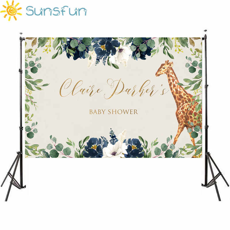 Sunsfun Safari Giraffa Scenografia Giungla Baby Shower Decorazioni Sfondo Per La Foto In Studio Del Fumetto Del Vinile 7x5FT HC13