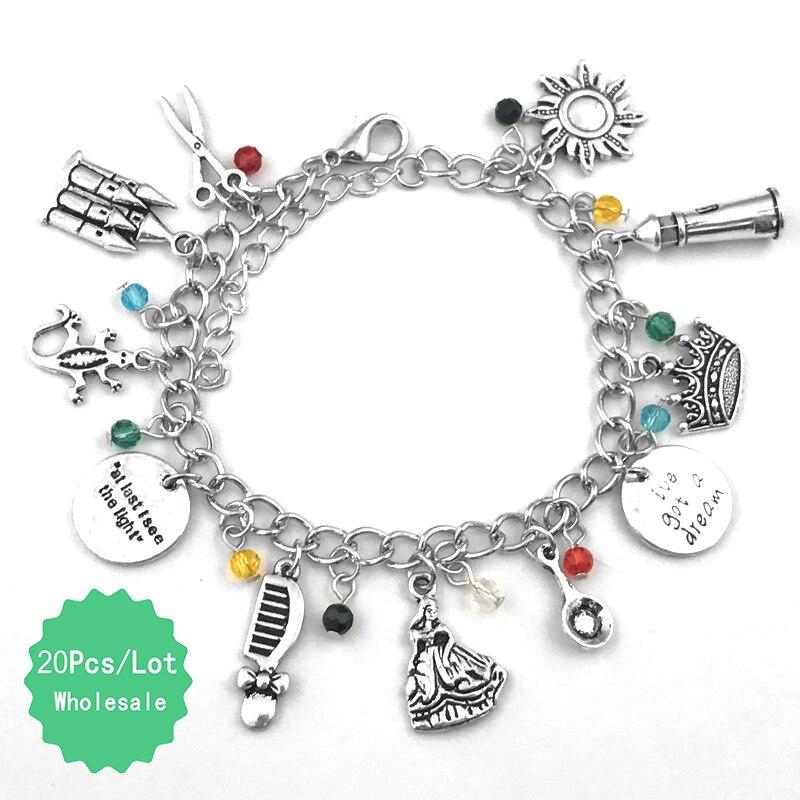 20 Pcs a Lot Tangled Rapunzel Bracelet with Crown Comb Scissors Castle Gecko Friendship Wristlet Anklets