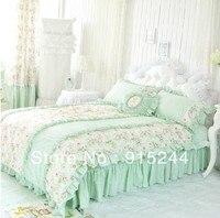 100 Cotton Bedding Four Piece Set Ruffle Bed Skirt Light Green Fresh Piece Bedding Set Bamboo