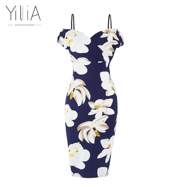 Yilia Off Shoulder Dress Bodycon Dress 2016 Sexy Short Sleeve Plus Size Floral Dress Women Camisole Hot V Neck Dress Pencil Date