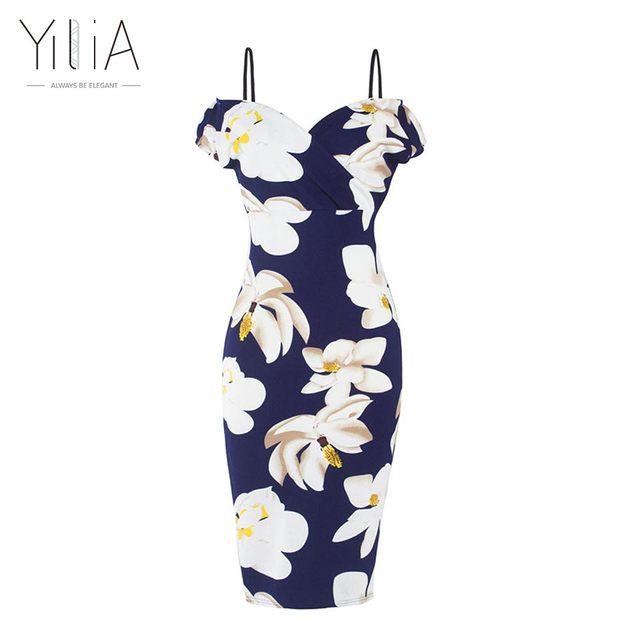 Yilia off shoulder dress bodycon dress 2016 sexy de manga curta mais tamanho floral dress camisole mulheres hot v neck dress lápis data