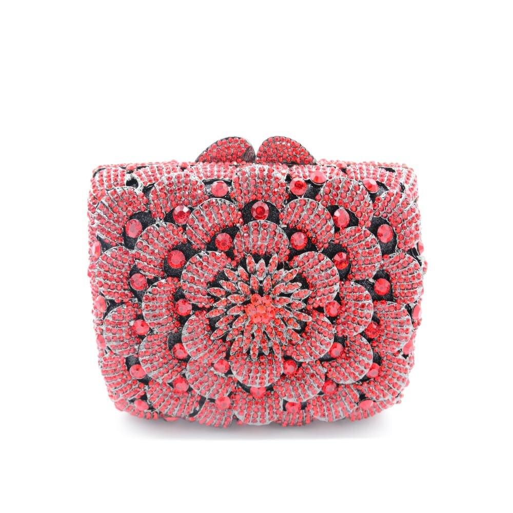 2016 New Artificial Diamond Rhinestone Flower Pattern Handbag Luxurious Bag Dinner Package Clutch Bag Party Evening