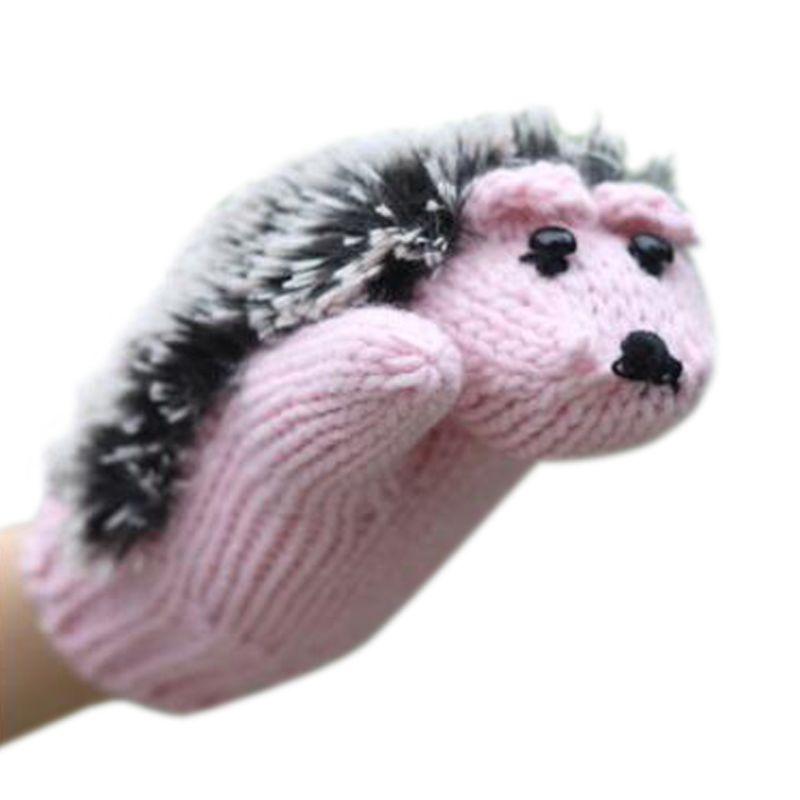 1 Pair Womens Cartoon Hedgehog Gloves Thicken Winter Hand Warmer Knitted Wrist Mittens Wholesale W15