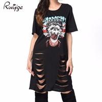 2017 African Print T Shirt Dress Punk Rock Style Summer Women Casual Mini Dress Sexy Black
