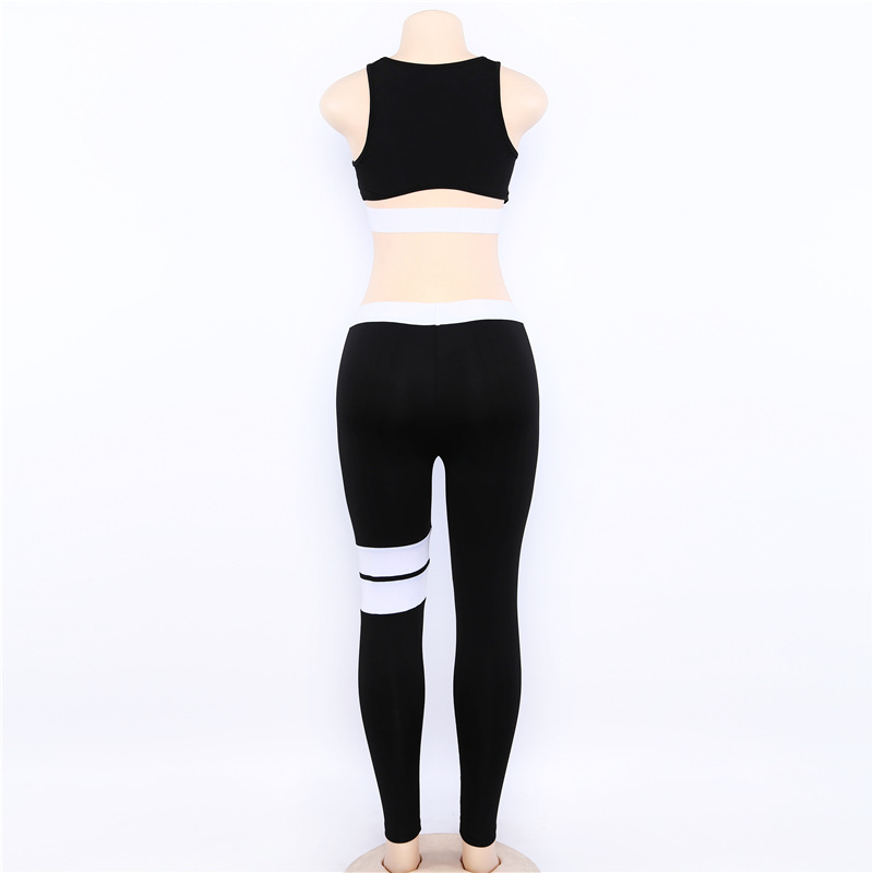 Women Tracksuit Solid Yoga Set Patchwork Running Fitness Jogging T-shirt Leggings Sports Suit Gym Sportswear Workout Clothes S-L 25
