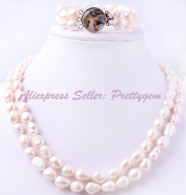 """HOT SALE FREESHIPPING FASHION STYLE 9-10MM OVAL NATURAL WHITE FRESHWATER PEARL NECKLACE BRACELET SETS 17"""",6.5"""""""