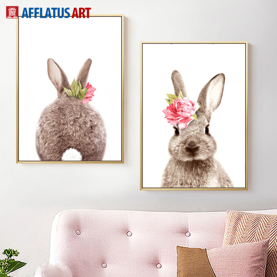 Flower Rabbit Wall Art Canvas Painting Watercolor Peony Nordic Posters And Prints Wall Pictures For Living Room Kids Room Decor