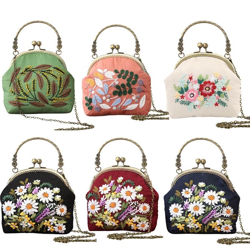 DIY Embroidery Flower Bag Handbag Needlework Cross Stitch Kit Handmade Kissing Portable Chain Bag Sewing Art Craft Creative Gift|Embroidery|   - AliExpress