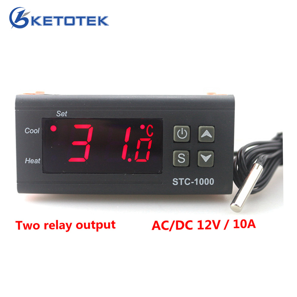 цена на DC12V/10A Dual Relay Output Digital temperature controller Thermostat Incubator LED Display Heat and Cool
