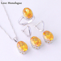 Love Monologue Gorgeous Yellow Imitation Citrine Oval Set 925 Sterling Silver Overlay Fashion Jewelry Sets For