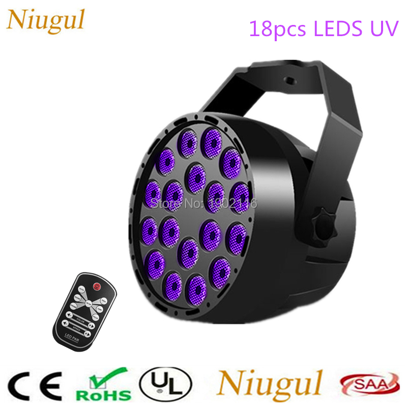UV 18 LED Stage Lights With Wireless Control, DMX512 Violet LED Projection Stage Lighting Home Party Club Disco UV Par Light UV 18 LED Stage Lights With Wireless Control, DMX512 Violet LED Projection Stage Lighting Home Party Club Disco UV Par Light