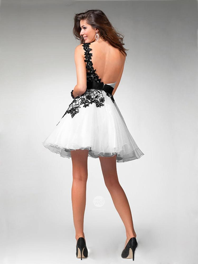 Aliexpress.com : Buy 2016 Black and White Lace Prom Dresses One ...