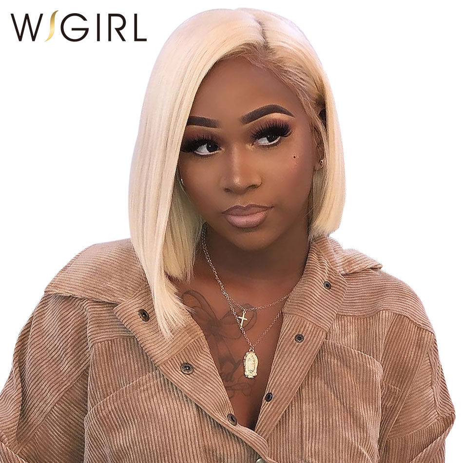 Wigirl Hair Short Human Hair Wig 613 Blonde 150 Lace Front Wig Pre Pluck Natural Hairline