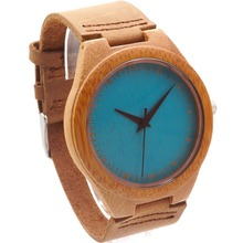 BOBO BIRD 2016 New Colorful Natural Bamboo Wood Men Watches With Real Leather Strap Relogio Masculino In Gift Box