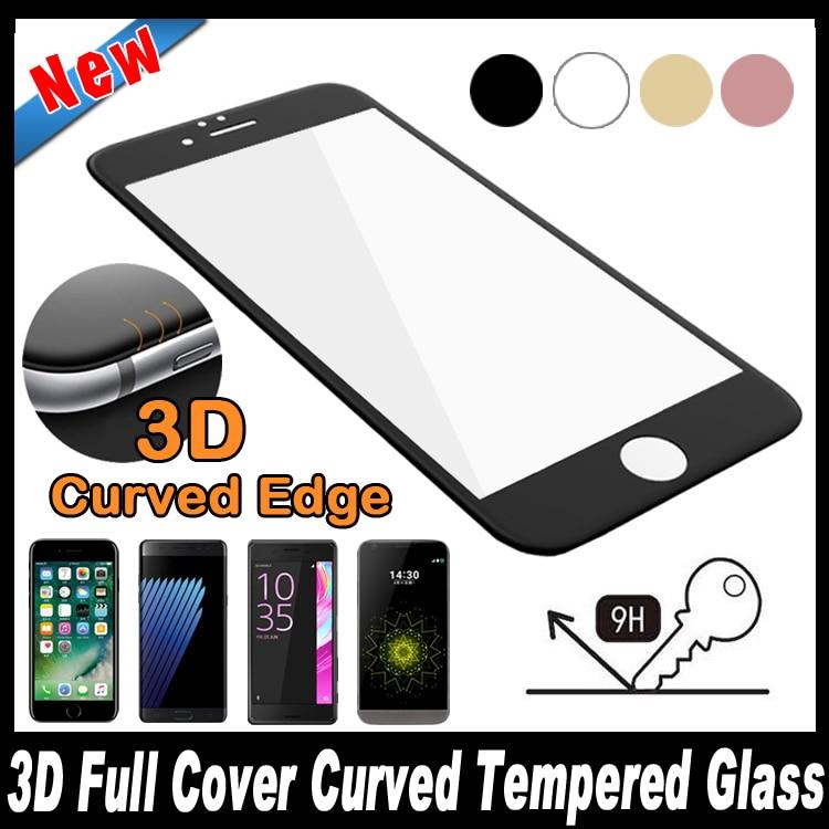 3D Full Cover <font><b>Curved</b></font> Screen Tempered Glass <font><b>For</b></font> <font><b>Samsung</b></font> <font><b>Galaxy</b></font> S7 S6 <font><b>edge</b></font> iPhone 7 6 6S Plus Sony Xperia XZ XA Ultra X Compact LG