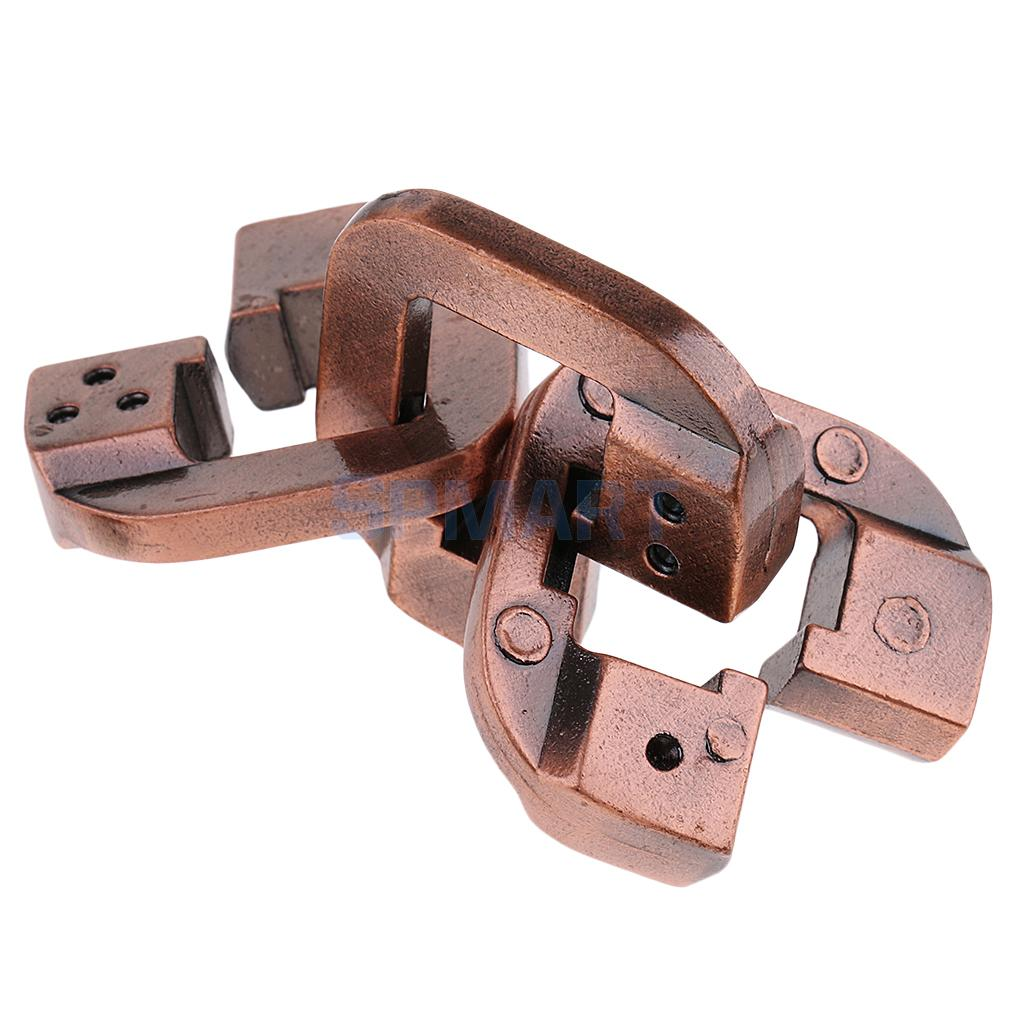 Ring Lock Puzzle Classic Metal Brain Teaser IQ Test Toy for Adults Children