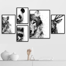 Panda Wolf Tiger Wall Art Canvas Painting Nordic Posters And Prints Watercolor Animals Pictures For Living Room Decor