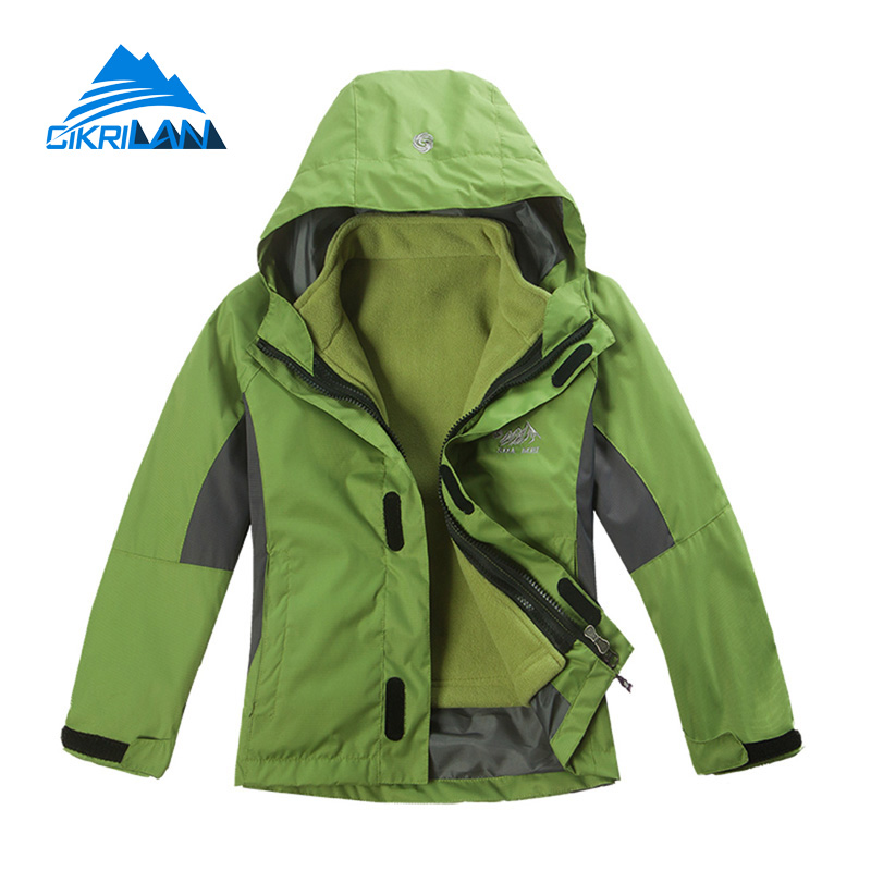High Quality Kids 2in1 Winter Outdoor Jacket Windstopper Camping Hiking Boys Girls Chaquetas Water Resistant Breathable Coat hot sale windstopper water resistant coat 2in1 hiking winter jacket women outdoor veste breathable camping chaquetas mujer