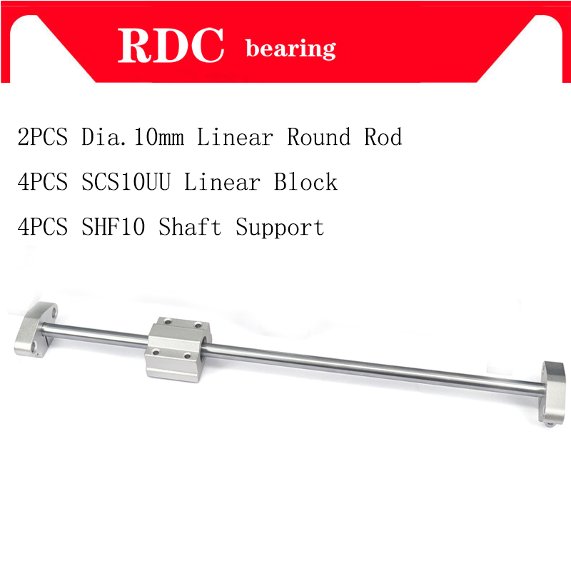 2pcs Dia. 10mm Linear shaft round rod 100 200 300 400 500 600mm + 4pcs SCS10UU Slide Block Bearing +4pcs SHF10 Shaft Support2pcs Dia. 10mm Linear shaft round rod 100 200 300 400 500 600mm + 4pcs SCS10UU Slide Block Bearing +4pcs SHF10 Shaft Support