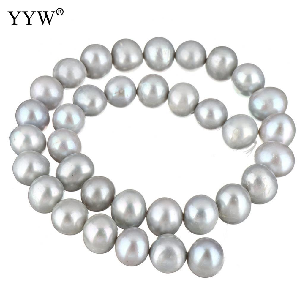 Cultured Potato Freshwater Pearl Beads Grey 12-13mm Approx 0.8mm 15.9 Inch Strand For Diy Jewelry Making Accessory Price Remains Stable Beads