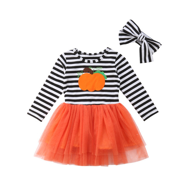 e90bbc4696c7 Halloween White Black Stripes Lace Mesh Tulle Patchwork Dress Pumpkin  Dresses Long Sleeve Baby Kids Girls Party Dress Outfits