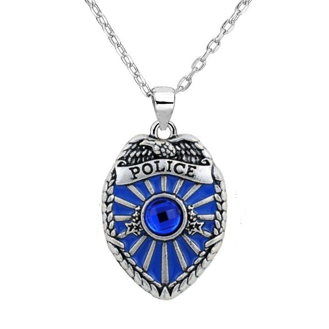 Antique Silver Plated Police Badge Pendant Policeman Blue Crystal Silver Chain Fashion Necklace