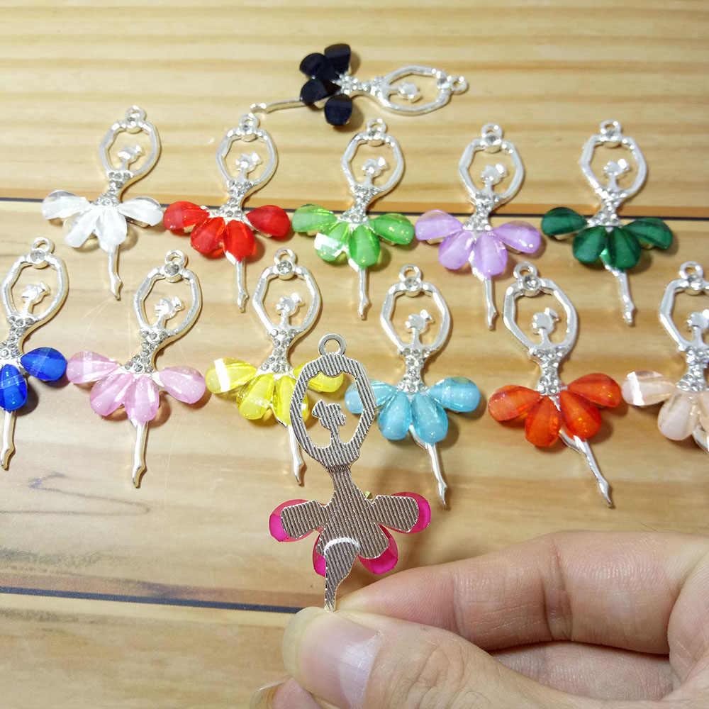 Moda criativa ballet menina pingente multi cor de cristal princesa dança menina charme para fazer jóias acessórios