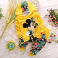 New 2014 children's fashion cartoon girls clothing sets baby & kids mickey clothing set minnie children hoodies and pant