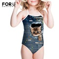 Crianças Corda Uma Peça Impressa Maiô para a Praia Engraçado Gatinho Gatos Animais Meninas Bathsuit Beachwear para Férias de Verão de Fitness