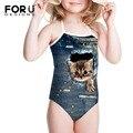 Niños de Cadena de Una Pieza Impresa traje de Baño para la Playa Divertido Gatito Gatos Animales Niñas Bathsuit Ropa de Playa de Vacaciones de Verano de Fitness