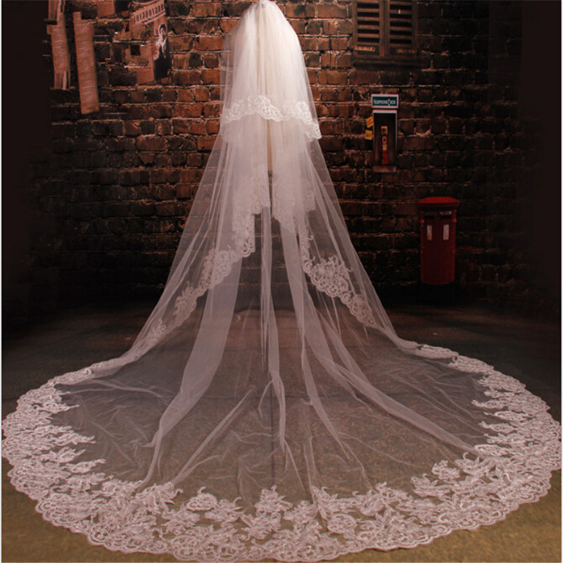 Ivory 3.5M Length Three Meters Width 3.5m*3m Two Layer Sequins Lace Wedding Veil Long Bridal Veil