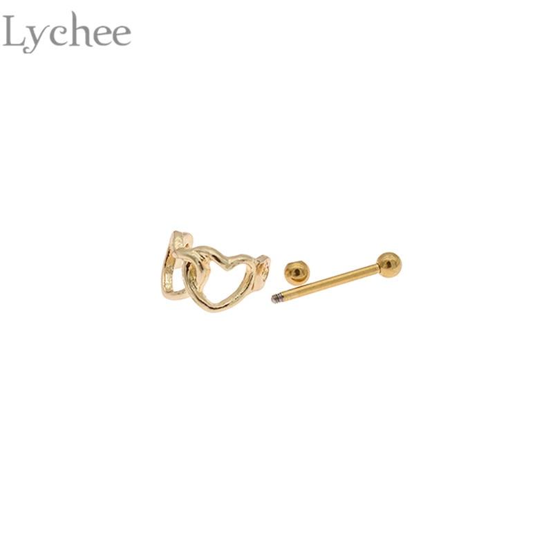 Lychee Trendy Stainless Steel Heart Ear Piercing Unisex Stud Earrings Fashion Women Men Earrings Jewelry Accessories